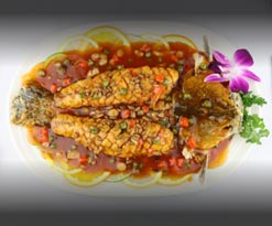 Chef's special sweet sour mandarin whole fish whit pinenut